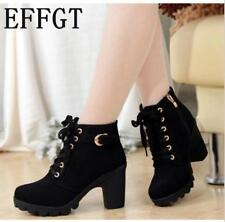 EFFGT Winter Women Boots High Quality Solid Lace-up European Fashion Ladies Shoe