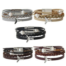 Women Fashion Magnetic Leather Bracelets Handmade Multilayer Wrap Wristband
