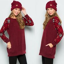 Plaid Sleeve Tunic Pockets Burgundy White Sweater Pullover Sweatshirt Cozy Tall