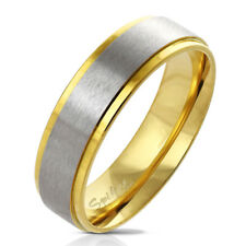Finger Ring Made of Stainless Steel in Gold with Brushed Center VARIOUS SIZES
