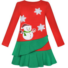 Flower Girl Dress Long Sleeve Christmas Snowman Holiday Party Size 5-12 Pageant