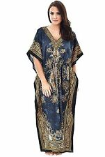 Women Loose Kimono Sleeve Vintage Plus Caftan Polyester Maxi Long Dress Kaftan
