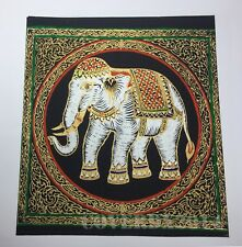 VTG Elephant Oriental Painting on Silk Made in Thailand