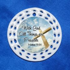 With God All Things Possible Cross Porcelain Gift 3 Formats Bible Verse