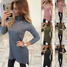 Bodycon Long Sleeve Womens Sexy Fashion Slim Long T-shirt High-Necked New