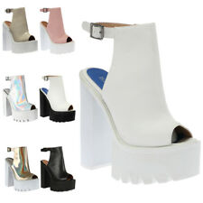 NEW WOMENS PLATFORM CLEATED SOLE LADIES PEEP TOE ANKLE HIGH HEELS SHOES SIZE 3-8