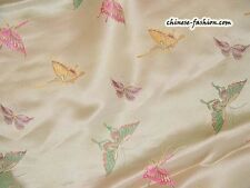 Chinese Brocade Faux Silk Fabric Embroidered Butterfly Print Oriental Pattern