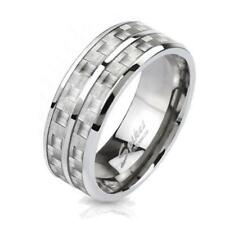 """coolbodyart Unisex Solid Titanium Ring Silver""""Carbon w """",with White Carbon Inlay"""