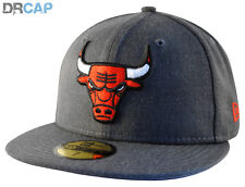New Era Flat Peak NBA Chicago Bulls Heather 59Fifty Grey fitted Baseball Caps