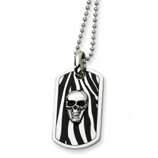 Stainless Steel Enamel Skull Dog Tag Pendant Necklaces - Bead