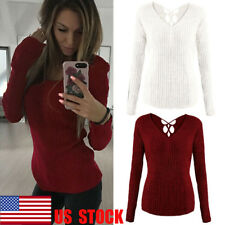 US Women's Long Sleeve Tops Autumn T Shirts Deep V Blouse Back Cut Out Basic Tee