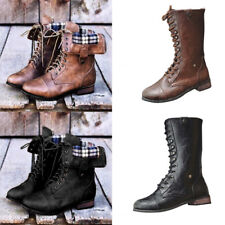 Women's Military Combat Lace Up Mid Calf Flats Boots Low Heel Slip On Shoes Size