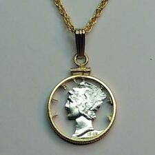 """Old Mercury Dime Silver & 24 k Gold Plated 18 or 24"""" (cut) Coin Necklace PB"""