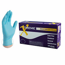 Xtreme Blue Nitrile Industrial Powdered Disposable Gloves (Box of 100)