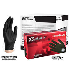AMMEX BX3 Black Nitrile Industrial Latex Free Disposable Gloves (Case of 1000)