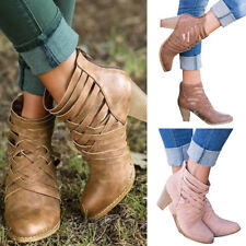Women Hollow Out Zipper Chunky Ankle Boots Lady Mid Hees Block Autumn Shoes Size