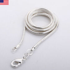 1mm Sterling Silver Snake Chain Necklace 925 Italy