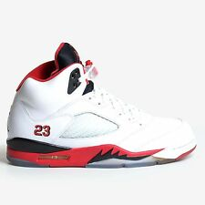 Air Jordan 5 Retro White 2013 Fire Red Black V Nike Men's Basketball 136027-120