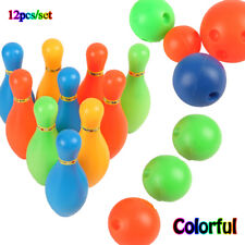12Pcs/Set Hot Colorful Plastic Bowling Set Mini Leisure Outdoor Sport Toys