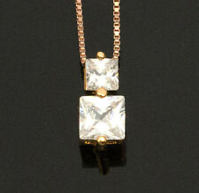 Noble Jewel Cubic Zirconia Gold Plated Pendant & 925 Sterling Silver Necklace