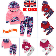 UK Baby Newborn Clothes Kids Girl Floral Hooded Tops+Long Pants Outfits Set Suit