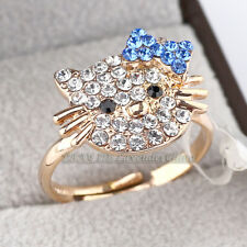 A1-R3054 Fashion CZ Cocktail Ring Cute Cat 18KGP Crystal Size 8