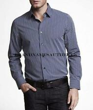 Express Men Modern Fit Dress Shirt Striped Navy Blue Size M or XL