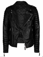 Mens Diamond Quilted Kay Michael Soft Leather Black Slim Fit Biker Jacket - BNWT