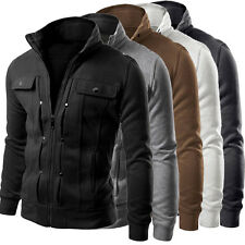 New Fashion Mens Slim Fit Stand Collar Coat Tops Military Jacket Outwear Blazer