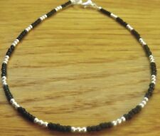 Dainty 2mm  Black Glass Seed Bead & Silver Bead Ankle Bracelet/Anklet