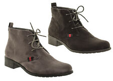 Women's Lace Up Ankle Boots Flat Low Heeled Black Grey Suede Boots Tie Up Laced