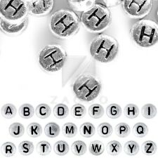 HOT 90pcs Acrylic Alphabet Letter Beads A-Z Flat Round Jewelry 7x7x3mm Silver IW