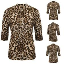 Women's Stand Collar Half Sleeve Leopard Casual Slim Fit T-Shirt Plus HE8Y