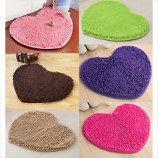 Heart Shape Non-slip Microfiber Mat Carpet Home Decorative Chenille Door Mat Rug