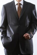 MENS 2 BUTTON SUPER 140S WOOL CHARCOAL SUIT FLAT FRONT, 40412N-40402-CHA