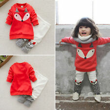 Toddler Baby Boy Girl Fox Long Sleeve Sweatershirt Top+Pants Outfits Set Clothes