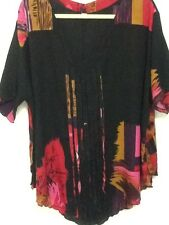 Ladies Asymmetrical Tops with Colourful Print - Sizes 16-18 and 18-20