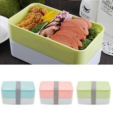 900ml 2 Layer Lunch Box Picnic Bento Food Container&Spoon Chopstic Safe Plastic