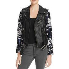 Linea Pelle 9091 Womens Floral Sleeve Zip-Up Leather Blazer BHFO
