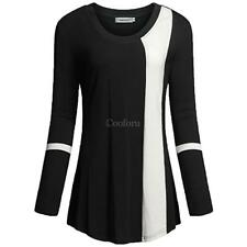 Women Round Neck Long Sleeve Contrast Color Patchwork Basic T-Shirt CO99