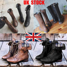 UK Womens Zip  Military Combat Snow Mid Calf Boots Lace Up Punk Ankle Shoes Size