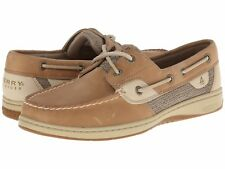 NEW Womens SPERRY TOP-SIDER Linen Tan Leather BLUEFISH 2-EYE Boat Shoes