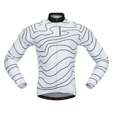 Unisex Cycling Jersey Bike Jersey Long Sleeve with Reflective Strips White