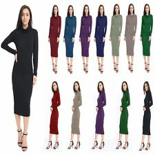 Ladies turtle neck long sleeve Bodycon Womens cowl neck roll midi Party dress