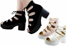 Ladies Gladiator Block Heels Sandals Womens Strappy Ankle Cut Out Chunky Shoes