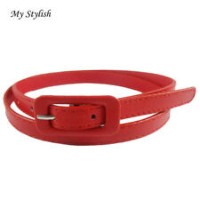 Hot!Women's Cute Candy Colors PU Leather Thin Belt Skinny Slender Waistband Nov