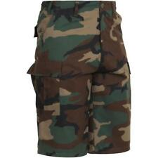 Woodland Camouflage - Military Long Cargo BDU Shorts - Polyester Cotton Twill