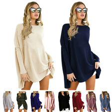 Fashion Women's Batwing Long Sleeve Loose Tops Casual Blouse Sweater Mini Dress