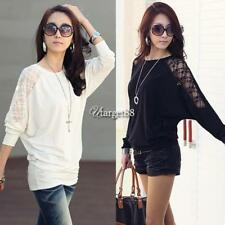 Women's Batwing Sleeve Tops Hollow Out Lace Spliced Loose T-Shirt UTAR