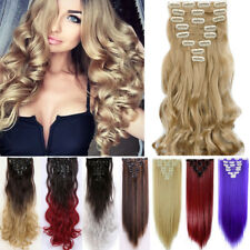 US 100% Real As Human Hair Extensions Full Head 8pcs Clip in Hair Extensions PR6